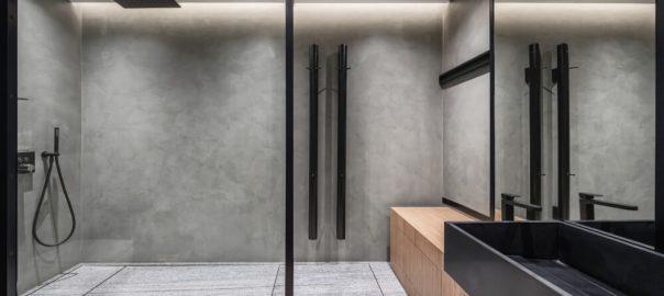 Black framed shower screens